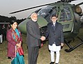 Narendra Modi handing over the Dhruv ALH to Nepal Army, at Army Pavilion, in Kathmandu, Nepal, on November 25, 2014. The Union Minister for External Affairs and Overseas Indian Affairs, Smt. Sushma Swaraj is also seen.jpg