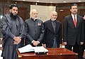 Narendra Modi with the President of Afghanistan, Dr. Mohammad Ashraf Ghani and speakers of two houses of Parliament at the inauguration ceremony of the Afghanistan Parliament, in Kabul on December 25, 2015 (2).jpg