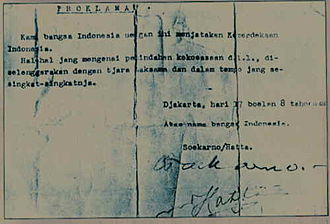 Proclamation of Indonesian Independence - The original Indonesian Declaration of Independence