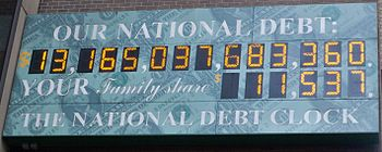 The national debt clock outside the IRS office...