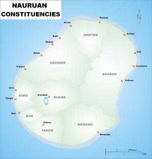 Constituencies of Nauru - Map of the Nauruan Constituencies