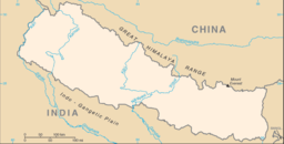 Everest markeret på grænsen af Nepal og Tibet.