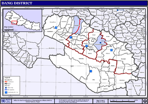 Dang Deukhuri District - VDCs and Municipalities (blue) in Dang-Deukhuri