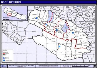 Dang Deukhuri District - VDCs and Municipalities (blue) in Dang-Deukhuri