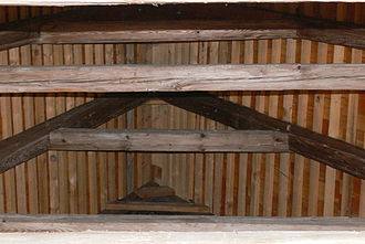 Lath - Roof laths span across between the rafters and support the wood shingles.