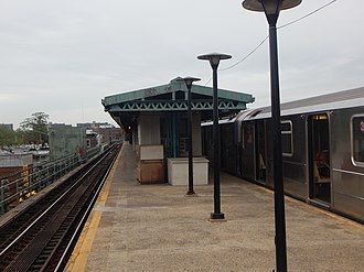New Lots Avenue (IRT New Lots Line) - The platform of the New Lots Avenue station in May 2015.