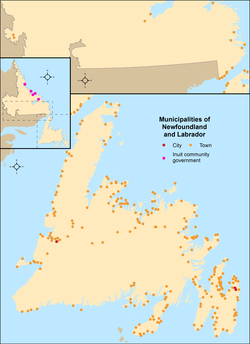 Map showing locations of all of Newfoundland and Labrador's municipalities