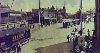 Newtown, New South Wales - King Street and Newtown Railway Station from a coloured postcard. c.1906