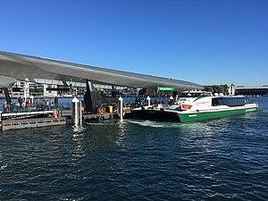 Barangaroo ferry wharf - The MV ''Nicole Livingstone'' berthed at Barangaroo wharf 1, during a morning F3 Parramatta River service.