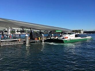 Barangaroo ferry wharf - The MV Nicole Livingstone berthed at Barangaroo wharf 1, during a morning F3 Parramatta River service.