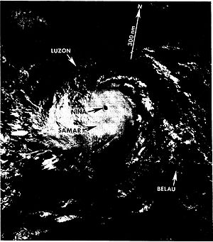 1987 in the Philippines - Nina at peak intensity while approaching landfall in the Philippines.