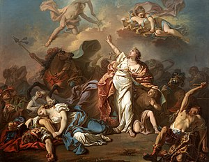 Niobe - A 1772 painting by Jacques-Louis David depicting Niobe attempting to shield her children from Artemis and Apollo.