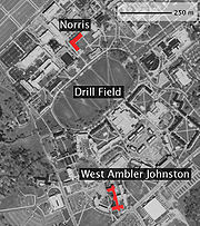 Aerial photo showing location of Norris and West Ambler Johnston Halls.