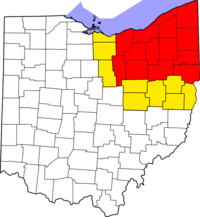 Map of counties in Northeast Ohio   Usually considered part of Northeast Ohio   Sometimes considered part of Northeast Ohio