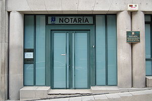 Notary - Entrance to notary's office in Vigo, Spain.