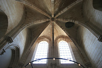 Arch - Interior vaulted ceiling of Notre Dame de Paris, showing the ribs at the intersection of several arches