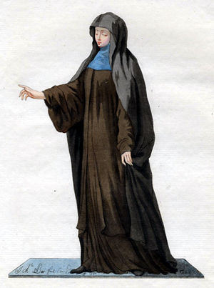 Maronite Church - 1779 painting of a Maronite nun from Mount Lebanon, with brown jilbab, blue khumur and black hijab.