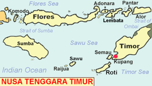 Savu - Map of the islands of East Nusa Tenggara, including Savu.
