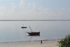 Nyali Beach from the Reef Hotel during high tide and still conditions in Mombasa, Kenya 9.jpg