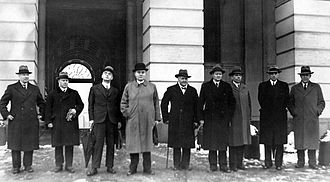 Nygaardsvold's Cabinet - Nygaardsvold's Cabinet. From left: Minister of Finance Adolf Indrebø, Minister of Defence Fredrik Monsen, Minister of Foreign Affairs Halvdan Koht, Prime Minister Johan Nygaardsvold, Minister of Agriculture Hans Ystgaard, Minister of Trade Alfred Madsen, Minister of Social Affairs Kornelius Bergsvik, Minister of Education Nils Hjelmtveit and Minister of Justice Trygve Lie