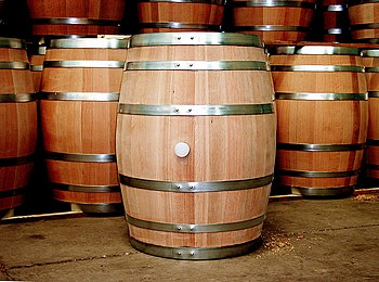English: Wine barrels at the storage room at T...