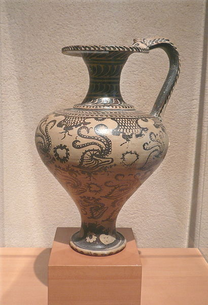 Minoan wine jug with marine life