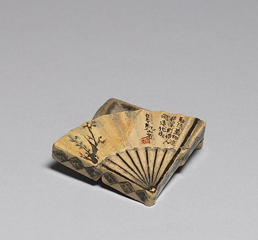 Ogata Kenzan - Incense Box in the Shape of a Folding Fan - Walters 491372 - Open