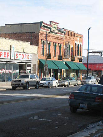 National Register of Historic Places property types - Historic districts often encompass numerous buildings, such as these in the Oregon Commercial Historic District, in Oregon, Illinois.