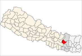 Okhaldhunga District i Sagarmatha Zone (grå) i Eastern Development Region (grå + lysegrå)