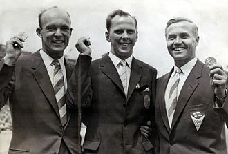 Lars Hall - Hall (middle) at the 1956 Olympics