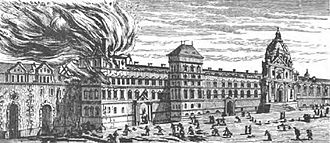 University of Paris - The Old Sorbonne on fire in 1670.