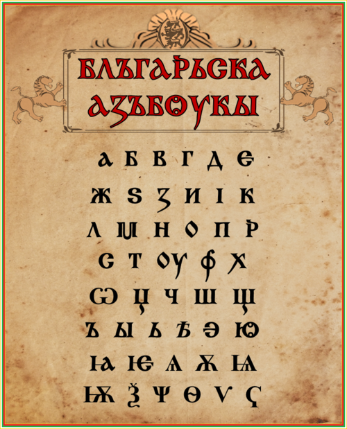 The Old Bulgarian alphabet Old Bulgarian Alphabet.png