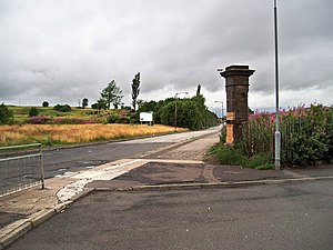 Cowlairs railway works - Site of the former Cowlairs Locomotive Works at Inverurie Street, Springburn in July 2009 (Carlisle St on the left was extended north through the former site).