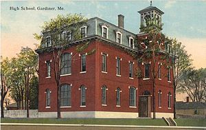 Gardiner, Maine - Old High School (1870-1969), designed by Francis H. Fassett