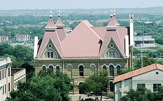 Old Main (Texas State University) - A view of Old Main, shot from the 7th floor of the Albert B. Alkek Library at Texas State University