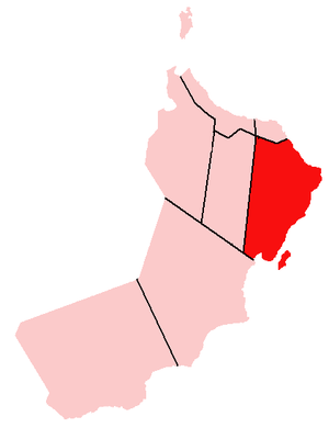 Ash Sharqiyah Region (Oman) - Location of Ash Sharqiyah Region in Oman