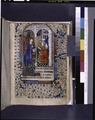 Opening of main text, miniature of Annunciation with border decoration, initials and linefiller (NYPL b12455533-425927).tif