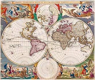 Nicolaes Visscher I - Image: Orbis Terrarum Nova et Accuratissima Tabula by Nicolaes Visscher, 1658