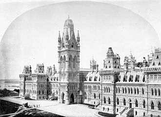 Victoria Tower (Canada) - Original Canadian parliament buildings c. 1870, showing Victoria Tower