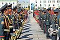 Orkiestra mongolskiej armii na placu Suche Batora w Ułan Bator 13.JPG
