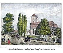Klopstocks Grab unter der Linde in Ottensen, Lithographie der Gebrüder Suhr, um 1840 (Quelle: Wikimedia)