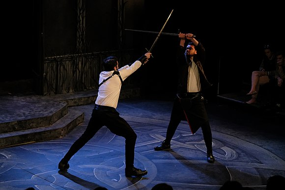 A swordfight from a stage production of Macbeth