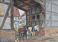 Otto Dinger Dörfliche Szenerie mit Pferden.jpg
