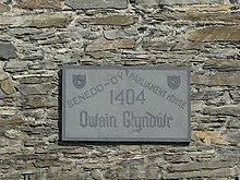 A plaque at Machynlleth commemorates Owain Glyndŵr's 1404 parliament