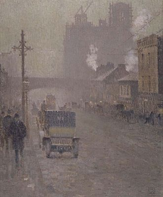 Manchester - An oil painting of Oxford Road, Manchester in 1910 by Valette