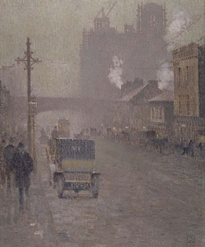 An oil painting of Oxford Road, Manchester in 1910 by Valette Oxford Road, Manchester 1910, Valette.jpg