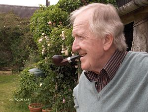 P. J. Kavanagh - Kavanagh at his home smoking a pipe in 2006