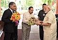 PK Sinha, IAS, Dr. PK Misra, IAS and Dr. Jitendra Singh welcoming Narendra Modi.jpg