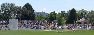Manuka Oval - The PM's XI is an annual cricket match at Manuka Oval. The curator's residence is on the right in the background.
