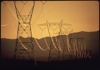 Searchlight, Nevada - Powerlines near Searchlight, 1972.  Photo by Charles O'Rear.